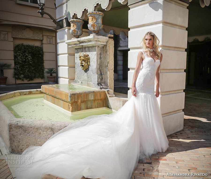 Alessandra Rinaudo 2017 Bridal Sleeveless Lace Strap Sweetheart Neckline Drop Waist Heavily Embellished Bodice Tulle Skirt A Line Wedding Dress Illusion Back Long Train 30 Mv Wedding Inspirasi