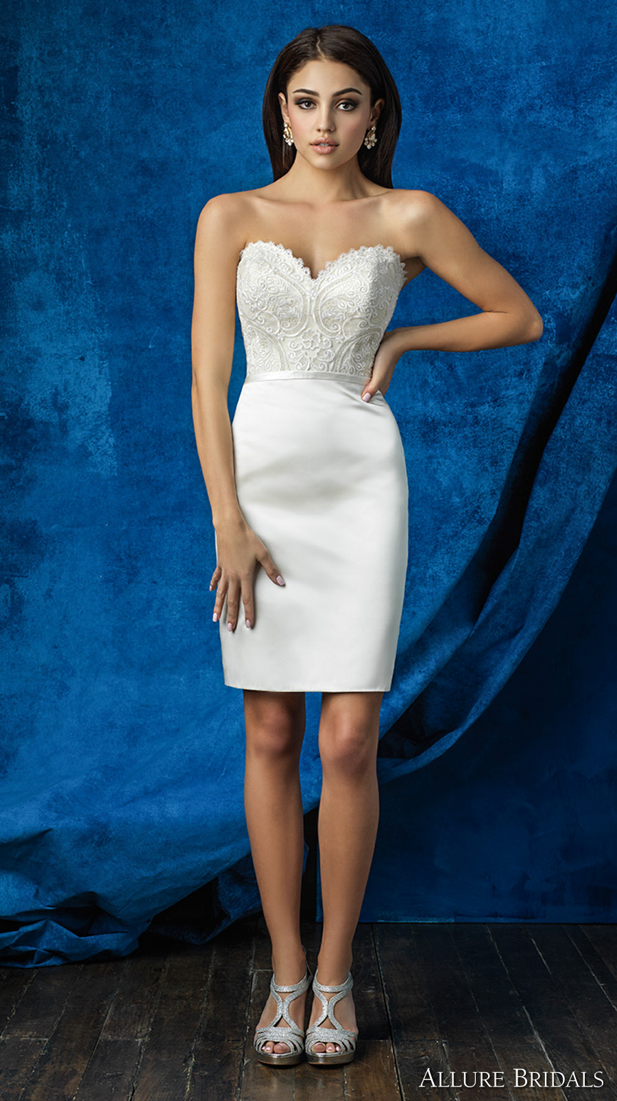 allure bridals 2016 mix match strapless scallop sweetheart neckline heavily embellished bodice satin short skirt above the knee short wedding dress (a2001 top  and a2007 skirt) mv