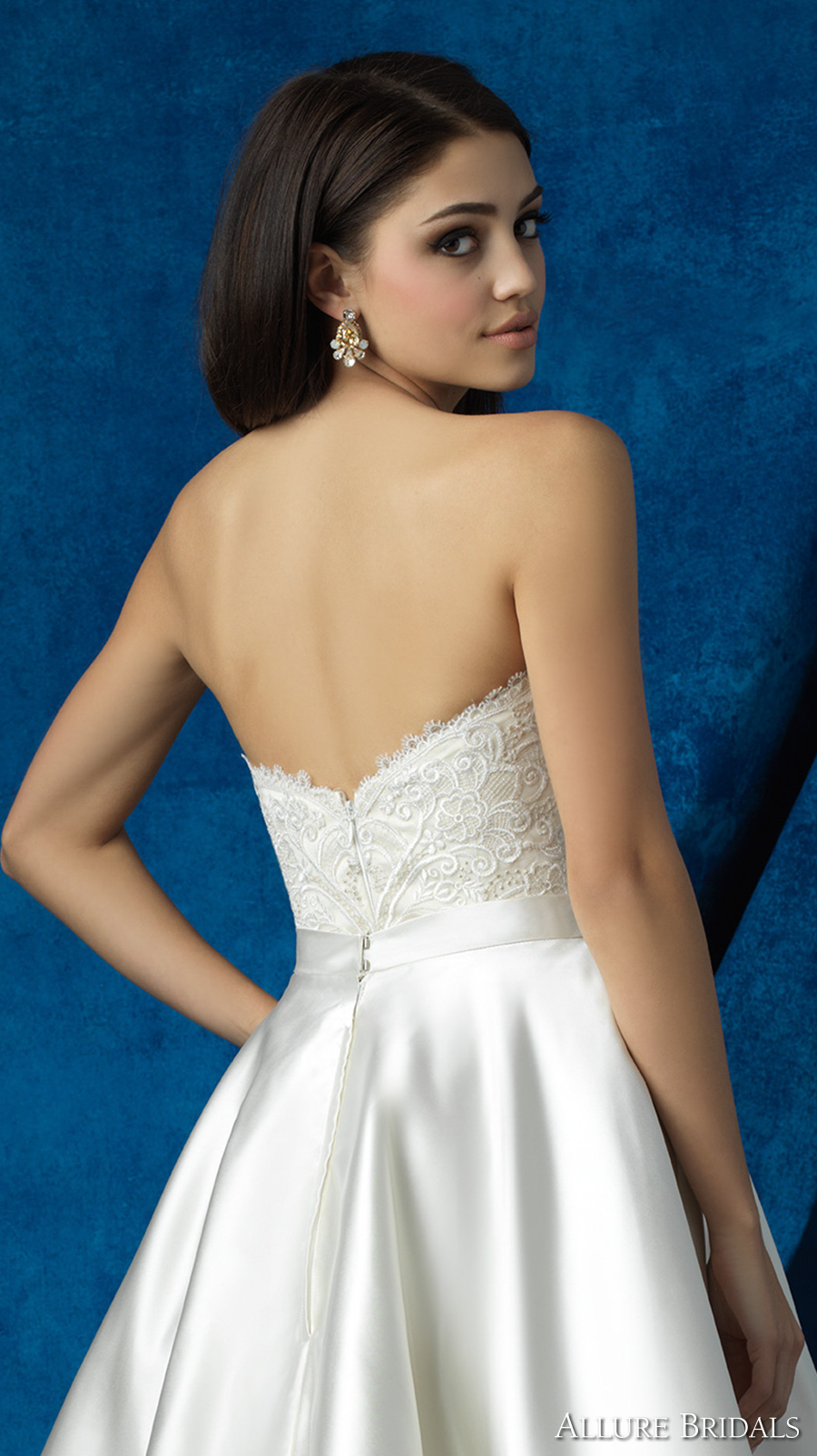 Allure Bridals 2016 Mix Match Strapless Scallop Sweetheart Neckline Heavily Embellished Bodice Satin Short Skirt Knee