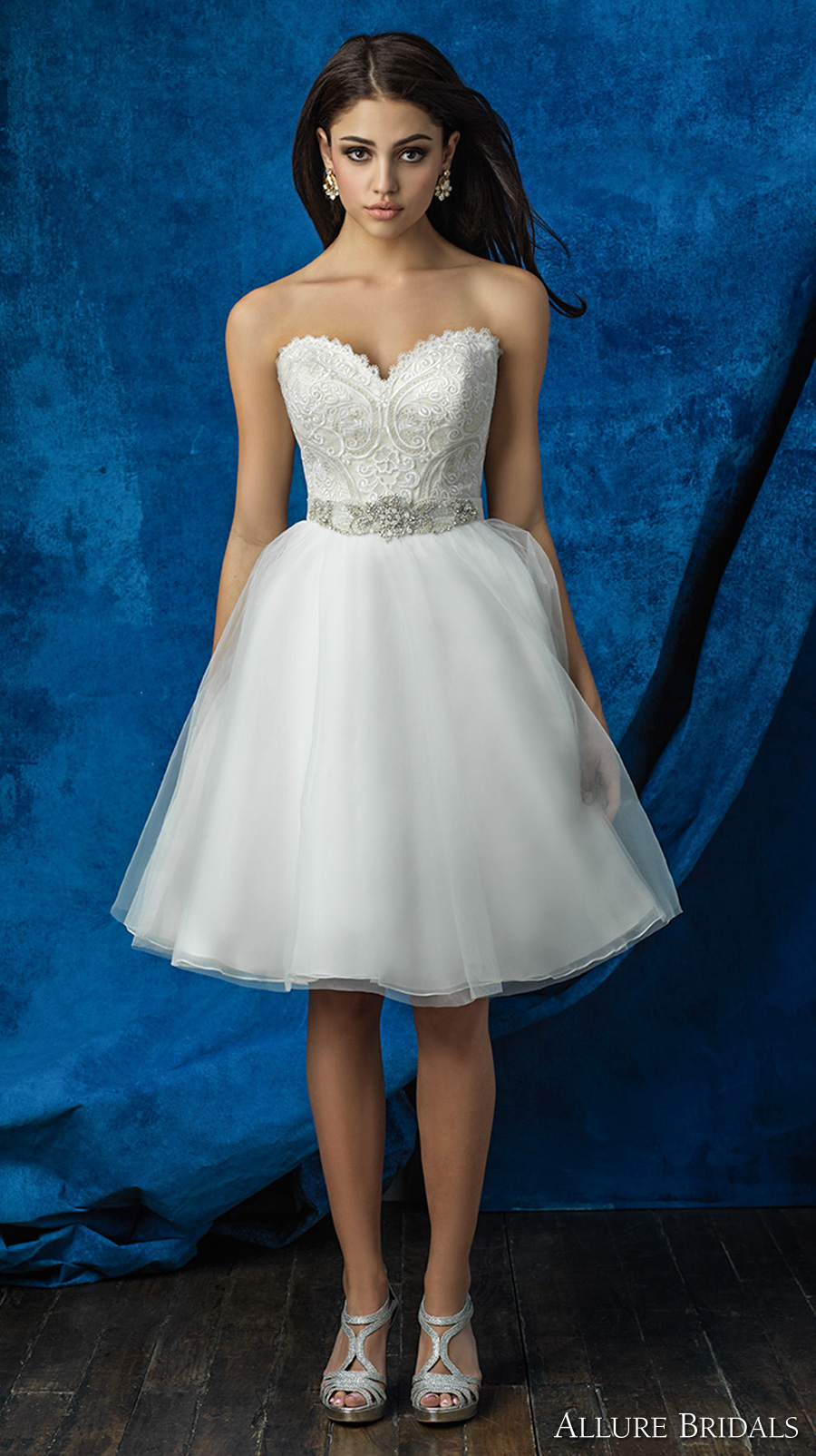 allure bridals 2016 mix match strapless scallop sweetheart neckline heavily embellished bodice tulle short skirt knee length romantic short wedding dress (a2001 top  and a2008 skirt) mv