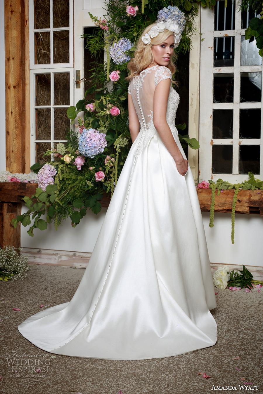 amanda wyatt 2017 bridal cap sleeves illusion bateau sweetheart neckline heavily embellished bodice elegant a  line wedding dress with pockets lace back sweep train (wren) bv