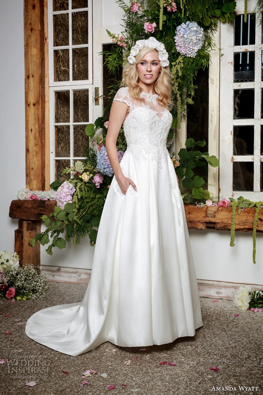 amanda wyatt 2017 bridal cap sleeves illusion bateau sweetheart neckline heavily embellished bodice elegant a  line wedding dress with pockets lace back sweep train (wren) mv