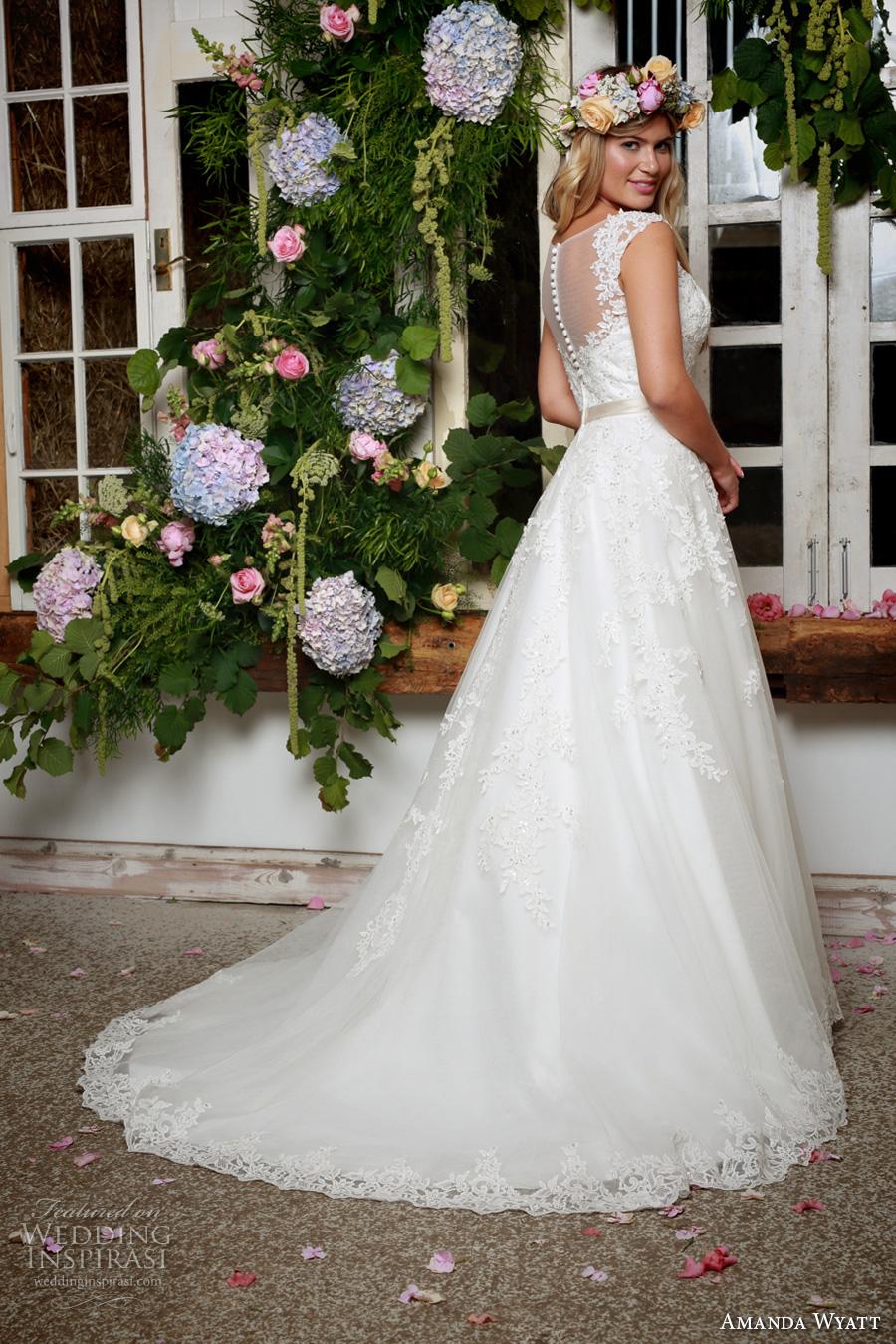 amanda wyatt 2017 bridal cap sleeves illusion scoop sweetheart neckline heavily embellished bodice romantic a  line wedding dress illusion back sweep train (alena) bv