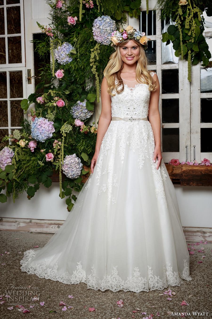 amanda wyatt 2017 bridal cap sleeves illusion scoop sweetheart neckline heavily embellished bodice romantic a  line wedding dress illusion back sweep train (alena) mv