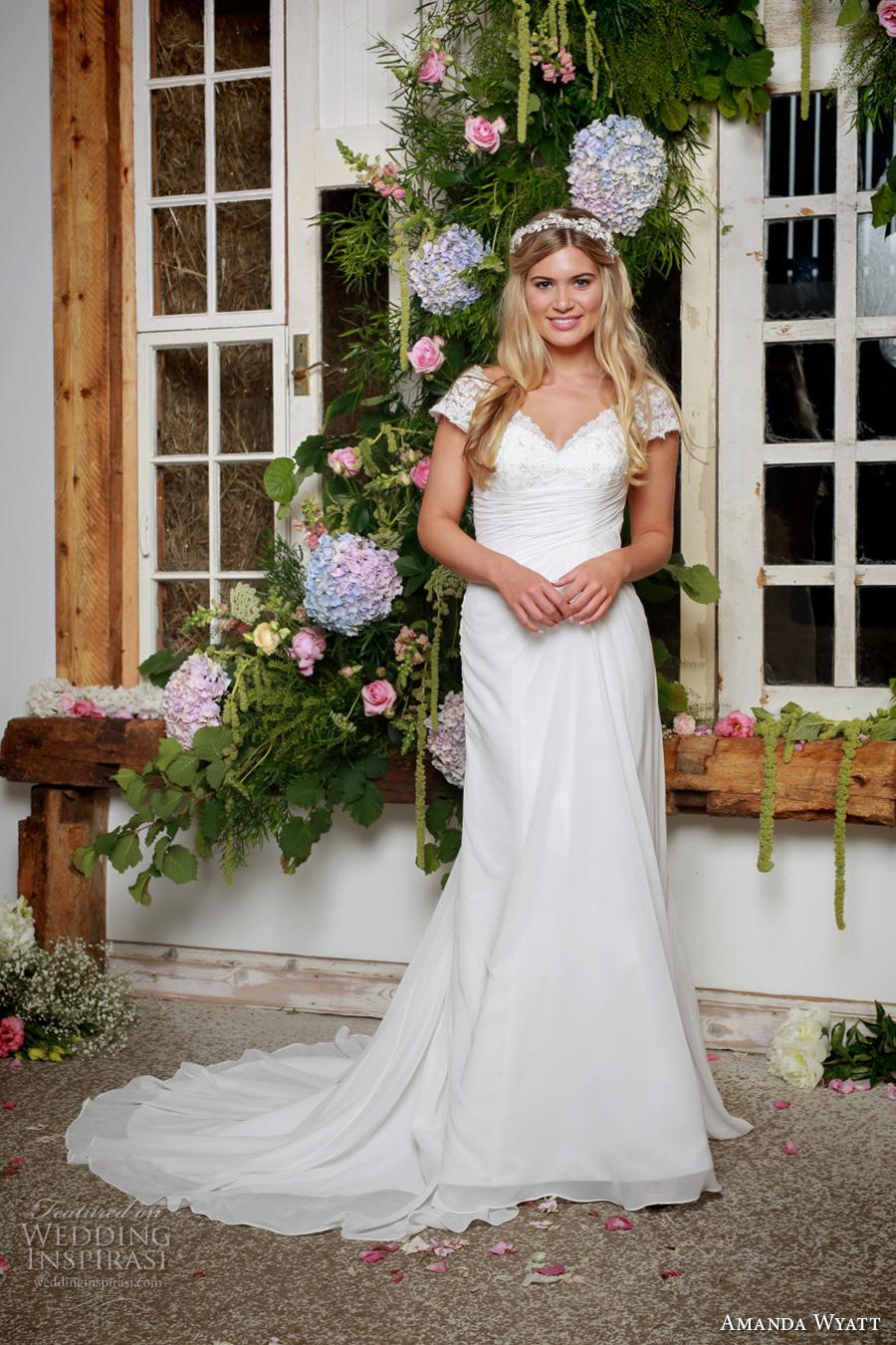 amanda wyatt 2017 bridal cap sleeves scallop v neck heavily embellished bodice classic sheath wedding dress v back sweep train (dakota) mv
