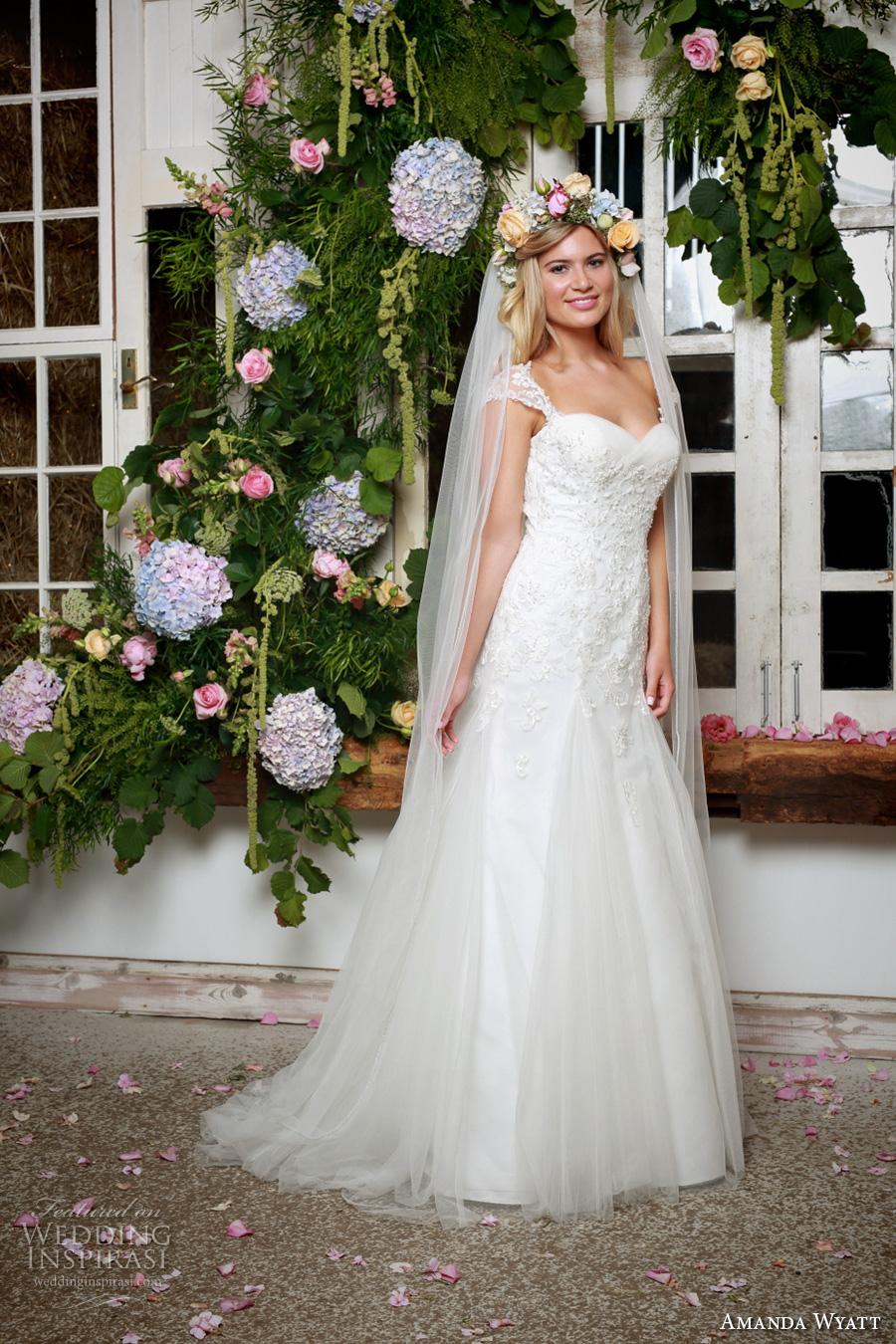 amanda wyatt 2017 bridal cap sleeves sweetheart neckline heavily embellished bodice elegant a  line wedding dress v back sweep train (ariella) mv