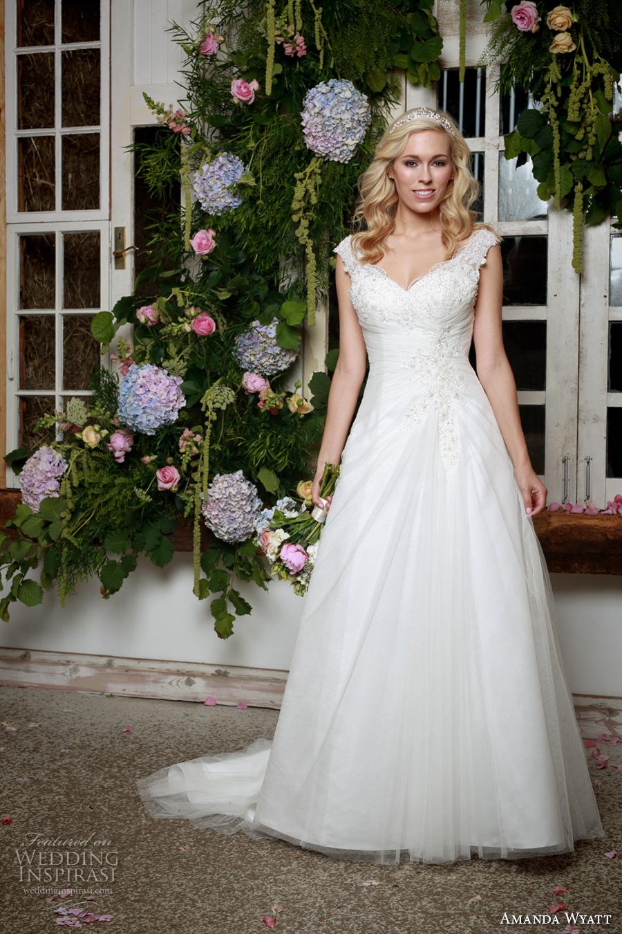 amanda wyatt 2017 bridal cap sleeves v neck heavily embellished bodice classic a  line wedding dress corset back sweep train (bryn) mv