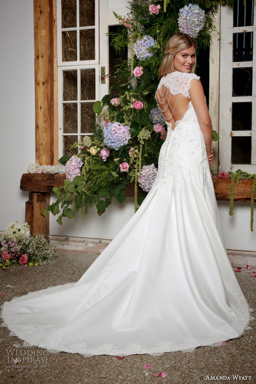 amanda wyatt 2017 bridal cap sleeves v neck heavily embellished bodice classic a  line wedding dress keyhole back chapel train (jil) bv
