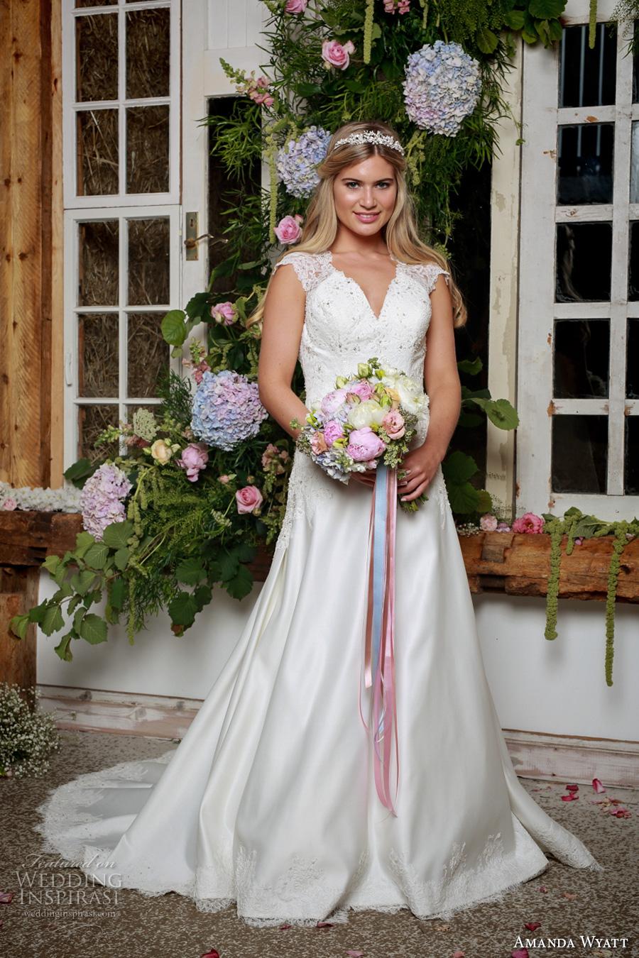 amanda wyatt 2017 bridal cap sleeves v neck heavily embellished bodice classic a  line wedding dress keyhole back chapel train (jil) mv