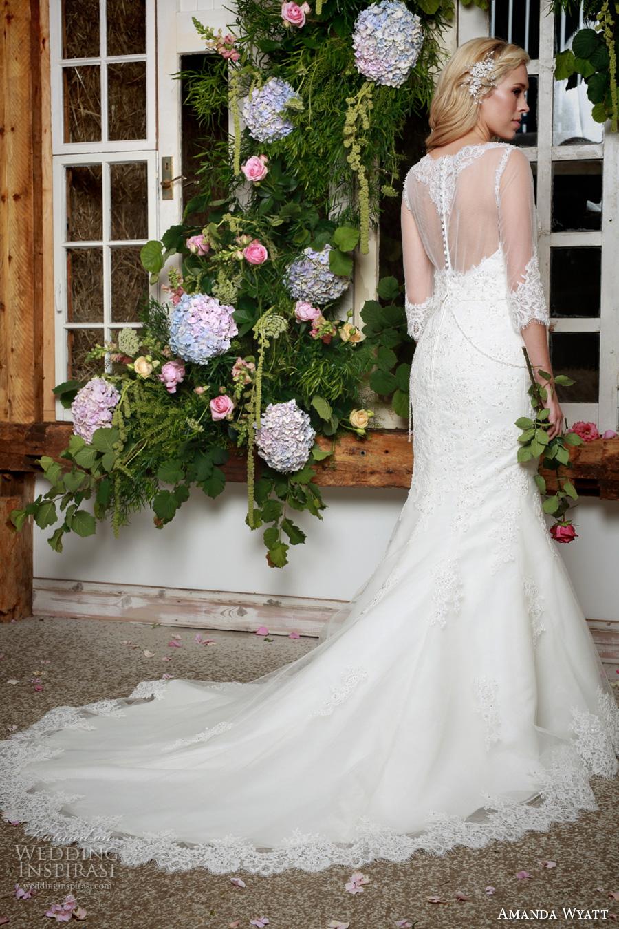 amanda wyatt 2017 bridal half sleeves scallop illusion bateau sweetheart neckline heavily embellished bodice illusion back chapel train (winter) bv