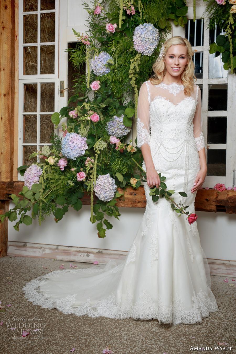 amanda wyatt 2017 bridal half sleeves scallop illusion bateau sweetheart neckline heavily embellished bodice illusion back chapel train (winter) mv