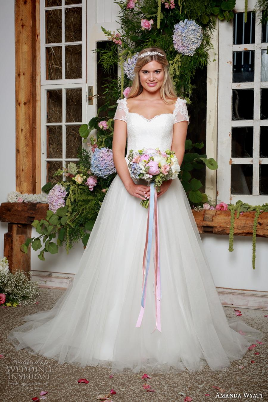 amanda wyatt 2017 bridal short sleeves sweetheart neckline corset bodice tulle skirt classi a  line wedding dress sweep train (springtime) mv