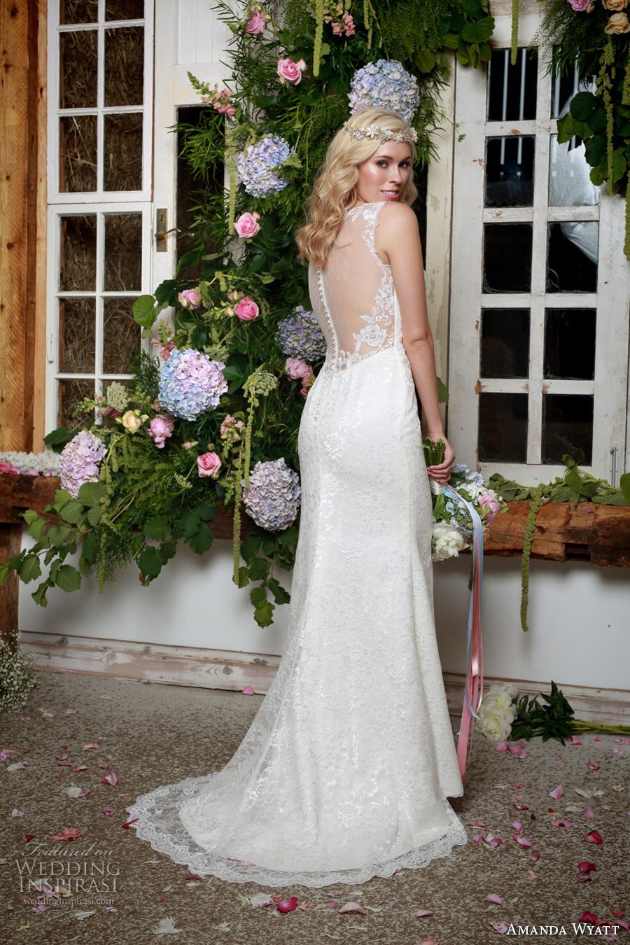 amanda wyatt 2017 bridal sleeveless illusion bateau deep plunging neckline heavily embellished bodice elegant sheath wedding dress illusion back sweep train (shiloh) bv