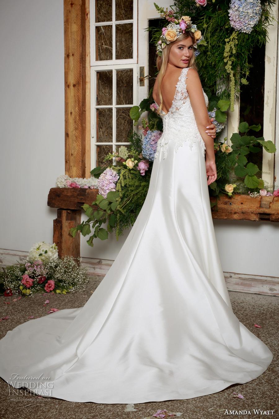 amanda wyatt 2017 bridal sleeveless illusion bateau sweetheart neckline heavily embellished bodice satin skirt trumpet wedding dress v back chapel train (thea) bv