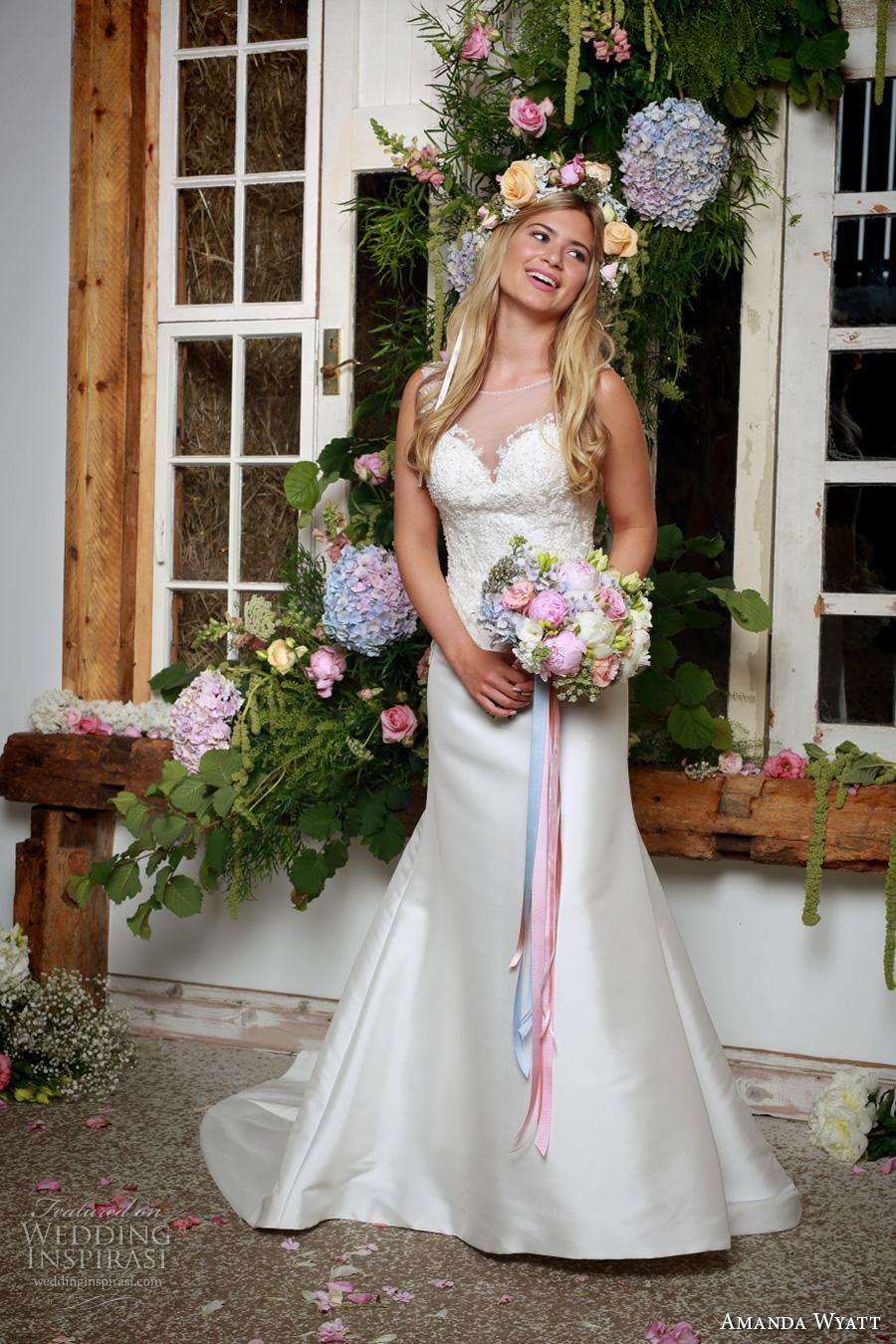 amanda wyatt 2017 bridal sleeveless illusion bateau sweetheart neckline heavily embellished bodice satin skirt trumpet wedding dress v back chapel train (thea) mv
