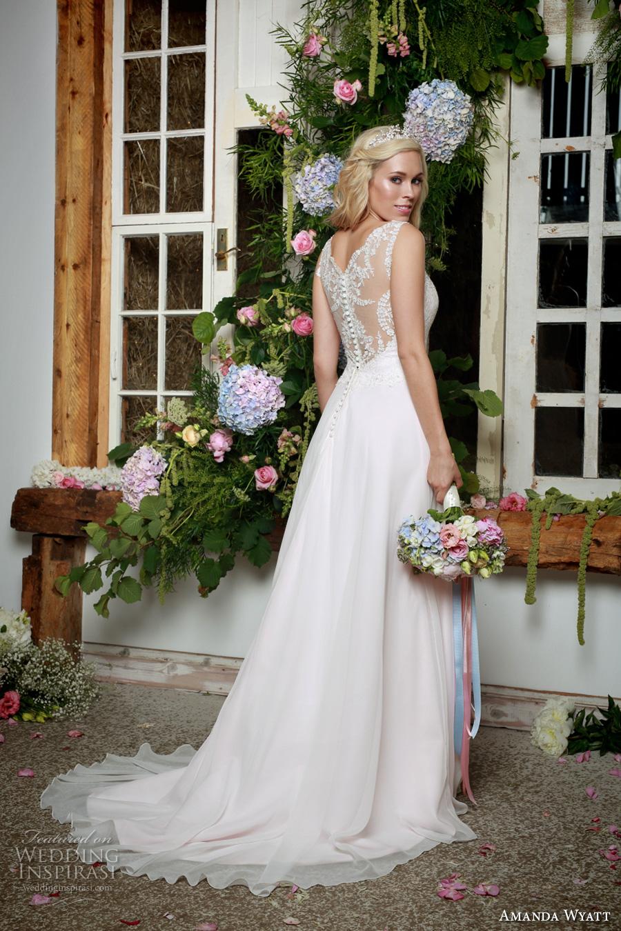 amanda wyatt 2017 bridal sleeveless lace strap sweetheart neckline heavily embellished bodice elegant blush color a  line wedding dress lace back sweep train (lettie blush) bv