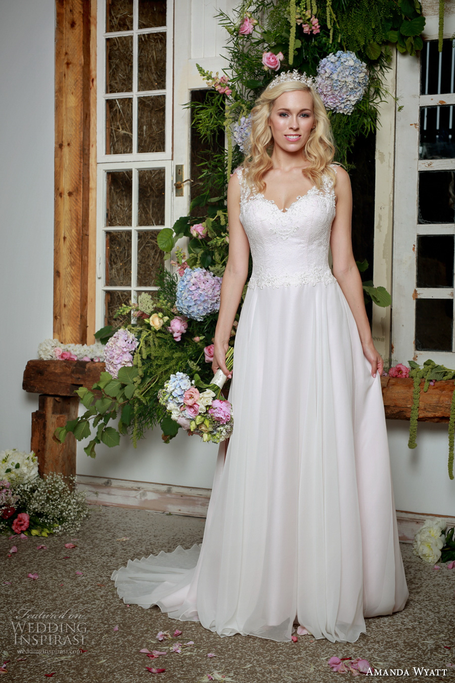 amanda wyatt 2017 bridal sleeveless lace strap sweetheart neckline heavily embellished bodice elegant blush color a  line wedding dress lace back sweep train (lettie blush) mv