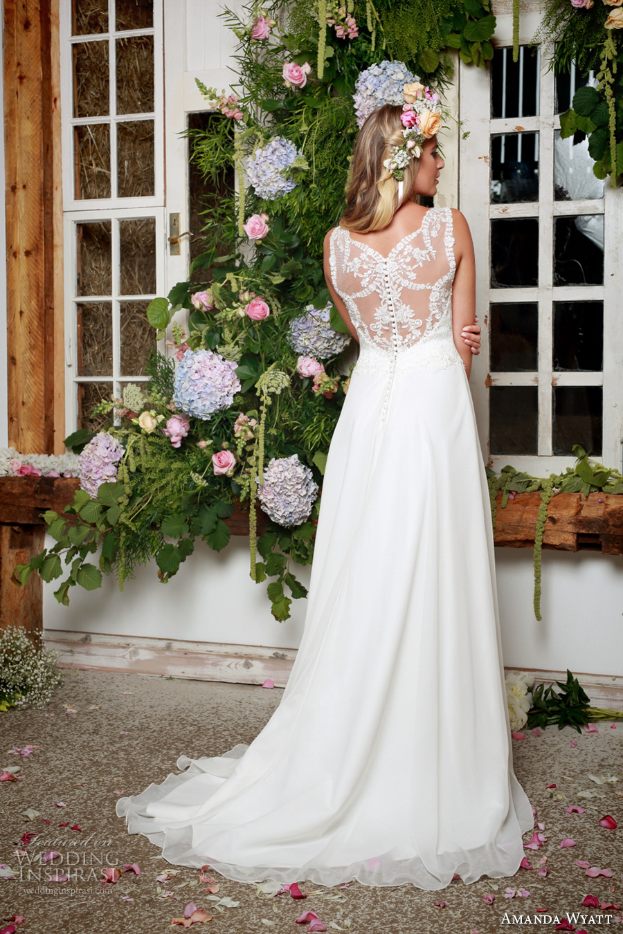 amanda wyatt 2017 bridal sleeveless lace thick strap v neck heavily embellished bodice romantic modifed a  line wedding dress lace back sweep train (lettie ivory) bv