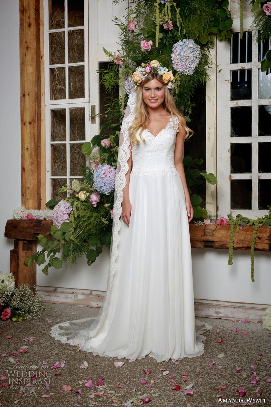amanda wyatt 2017 bridal sleeveless lace thick strap v neck heavily embellished bodice romantic modifed a  line wedding dress lace back sweep train (lettie ivory) mv