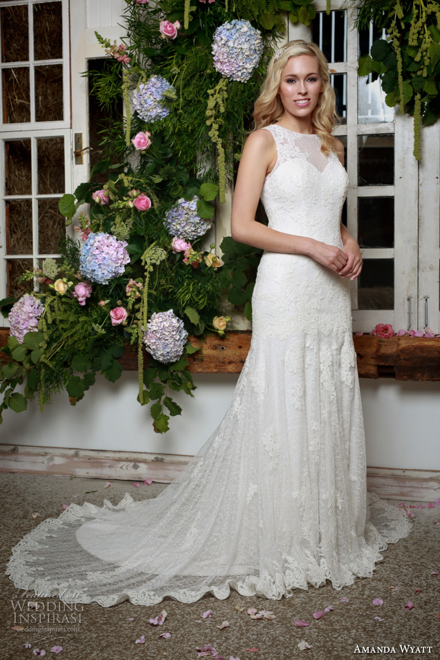 amanda wyatt 2017 bridal sleeveless round neckline full embellishement elegant sheath wedding dress lace back chapel train (sadie) mv