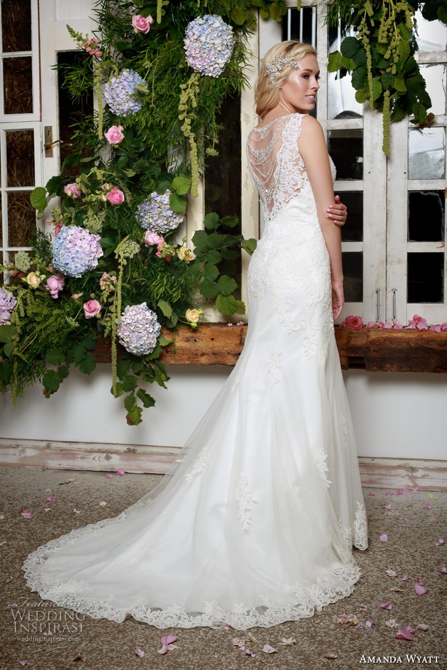 amanda wyatt 2017 bridal sleeveless scallop v neck heavily embellished bodice elegant fit and flare wedding dress  lace back sweep train (camry) mv