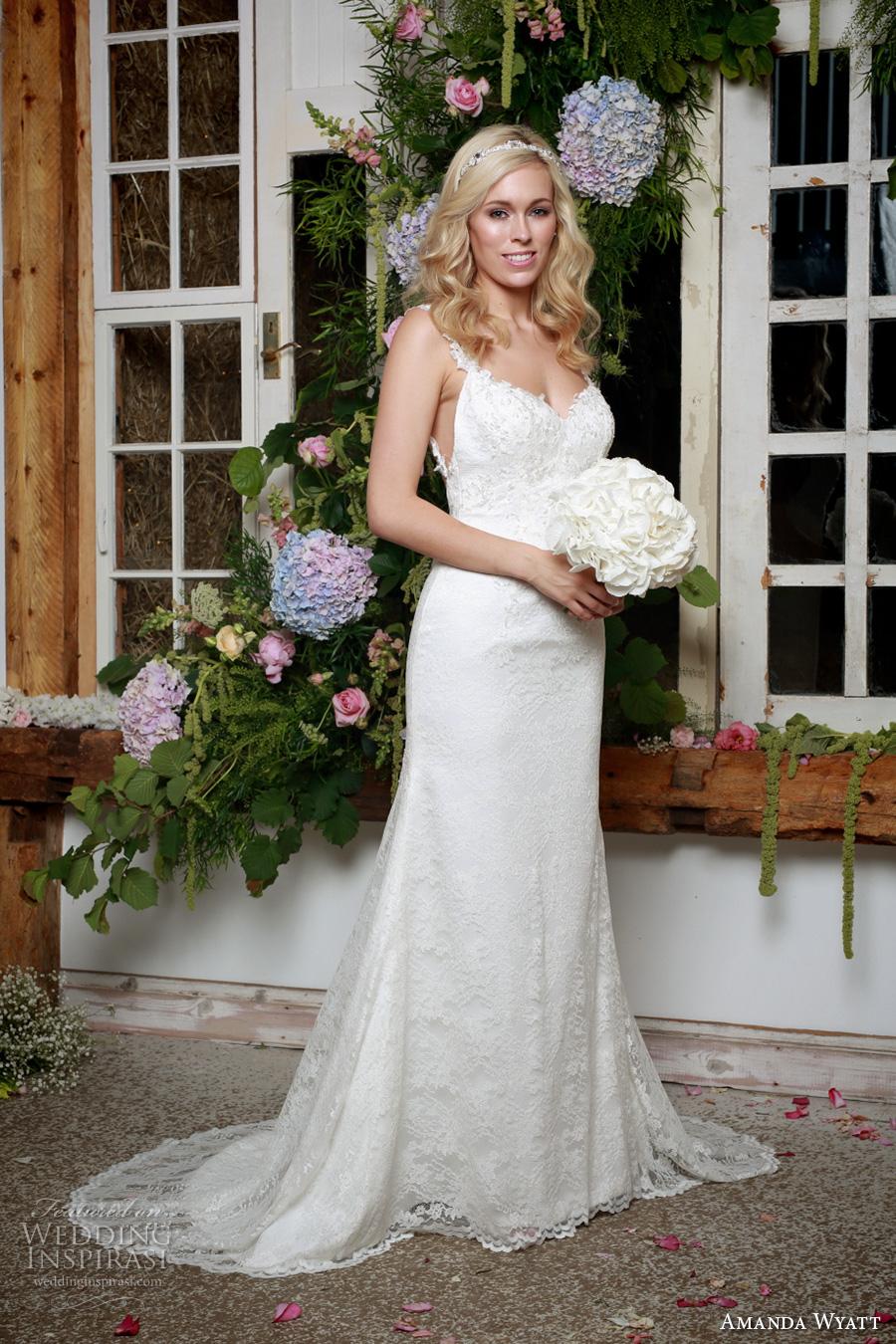 amanda wyatt 2017 bridal sleeveless thin strap sweetheart neckline full embellishment elegant sheath wedding dress low back sweep train (claire) mv