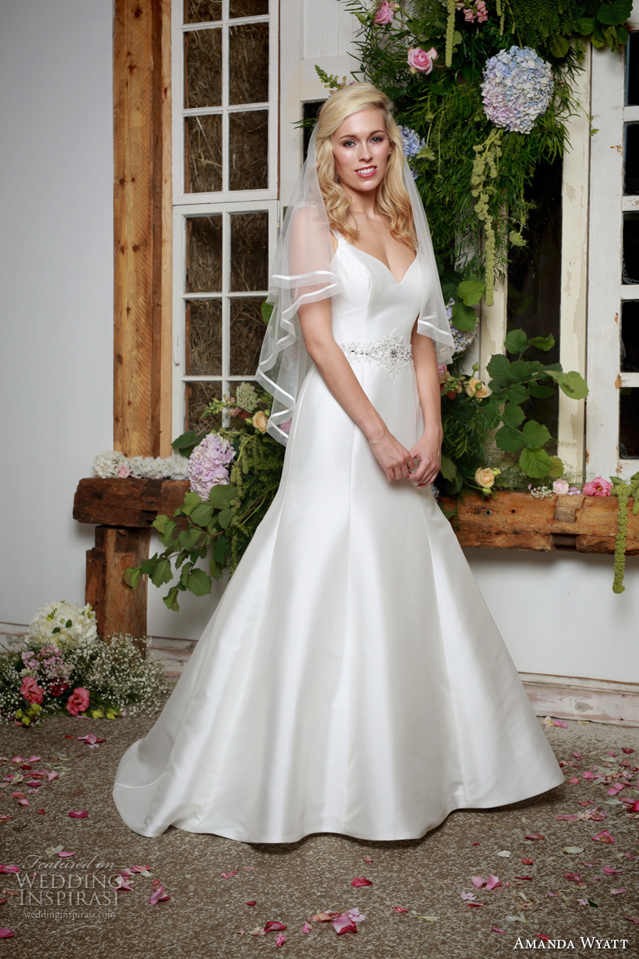 amanda wyatt 2017 bridal sleeveless v neck clean simple classic trumpet wedding dress scoop back sweep train (jewel) mv