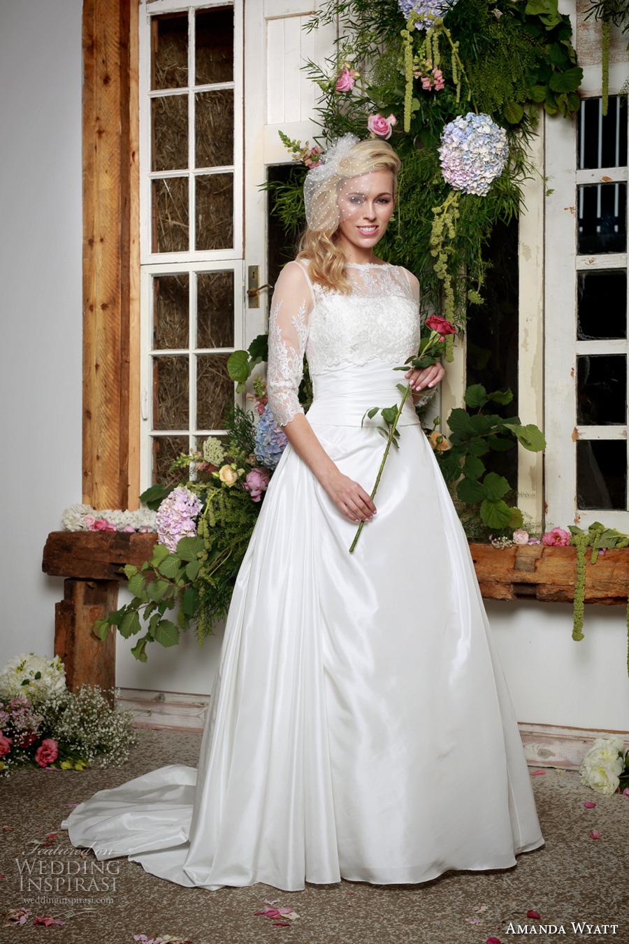 amanda wyatt 2017 bridal strapless straight neckline ruched bodice simple clean classi a  line wedding dress sweep train (amberley dress and rebecca jacket) mv
