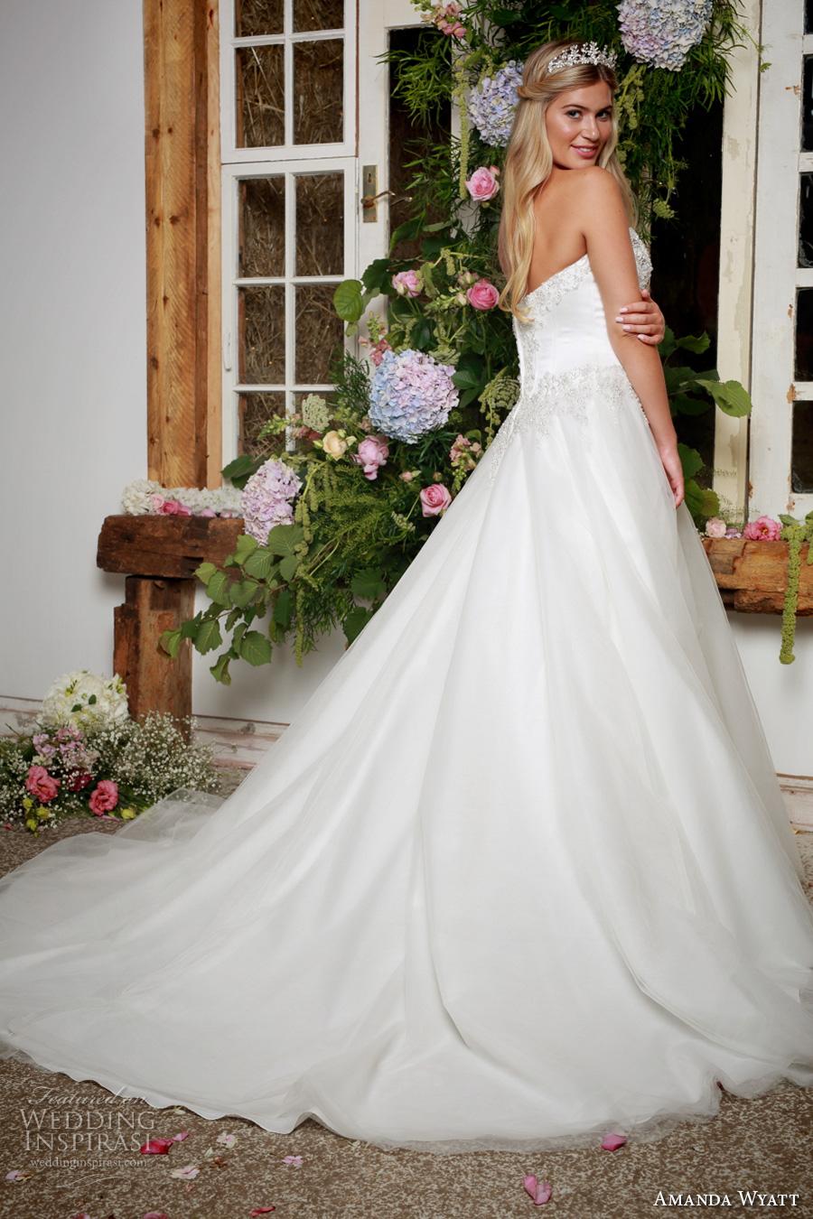 amanda wyatt 2017 bridal strapless sweetheart neckline beaded heavily embellished bodice tulle skirt princess a  line wedding dress chapel train (carley) bv