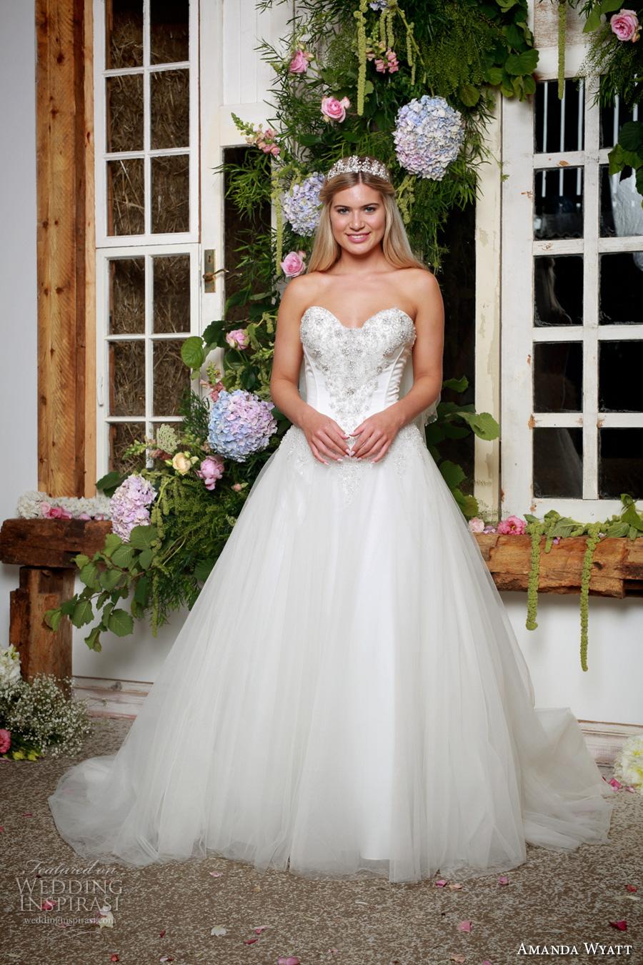 amanda wyatt 2017 bridal strapless sweetheart neckline beaded heavily embellished bodice tulle skirt princess a  line wedding dress chapel train (carley) mv