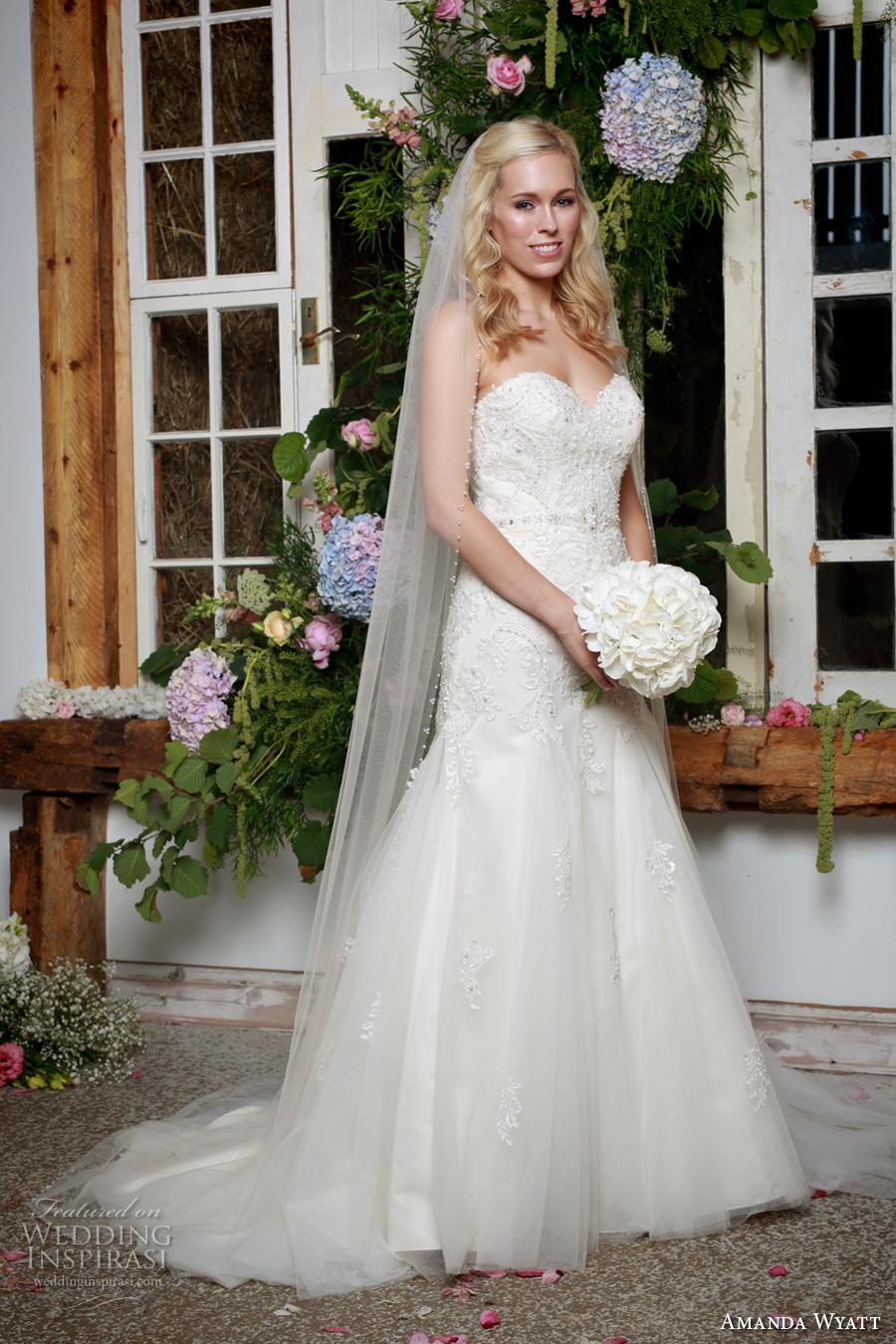 amanda wyatt 2017 bridal strapless sweetheart neckline heavily embellished bodice classic mermaid wedding dress chapel train (sage) mv
