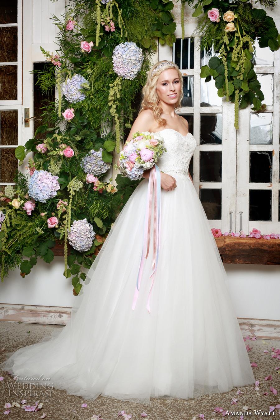 amanda wyatt 2017 bridal strapless sweetheart neckline heavily embellished bodice ivory color a  line wedding dress tulle skirt sweep train (cleo) mv