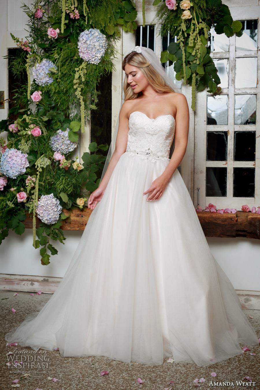 amanda wyatt 2017 bridal strapless sweetheart neckline heavily embellished bodice tulle skirt blush color princess a  line wedding dress sweep train (cleo) mv