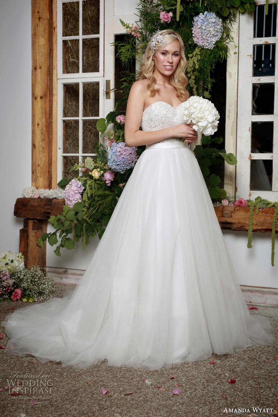 amanda wyatt 2017 bridal strapless sweetheart neckline heavily embellished bodice tulle skirt romantic a  line wedding dress chapel train (indra) mv