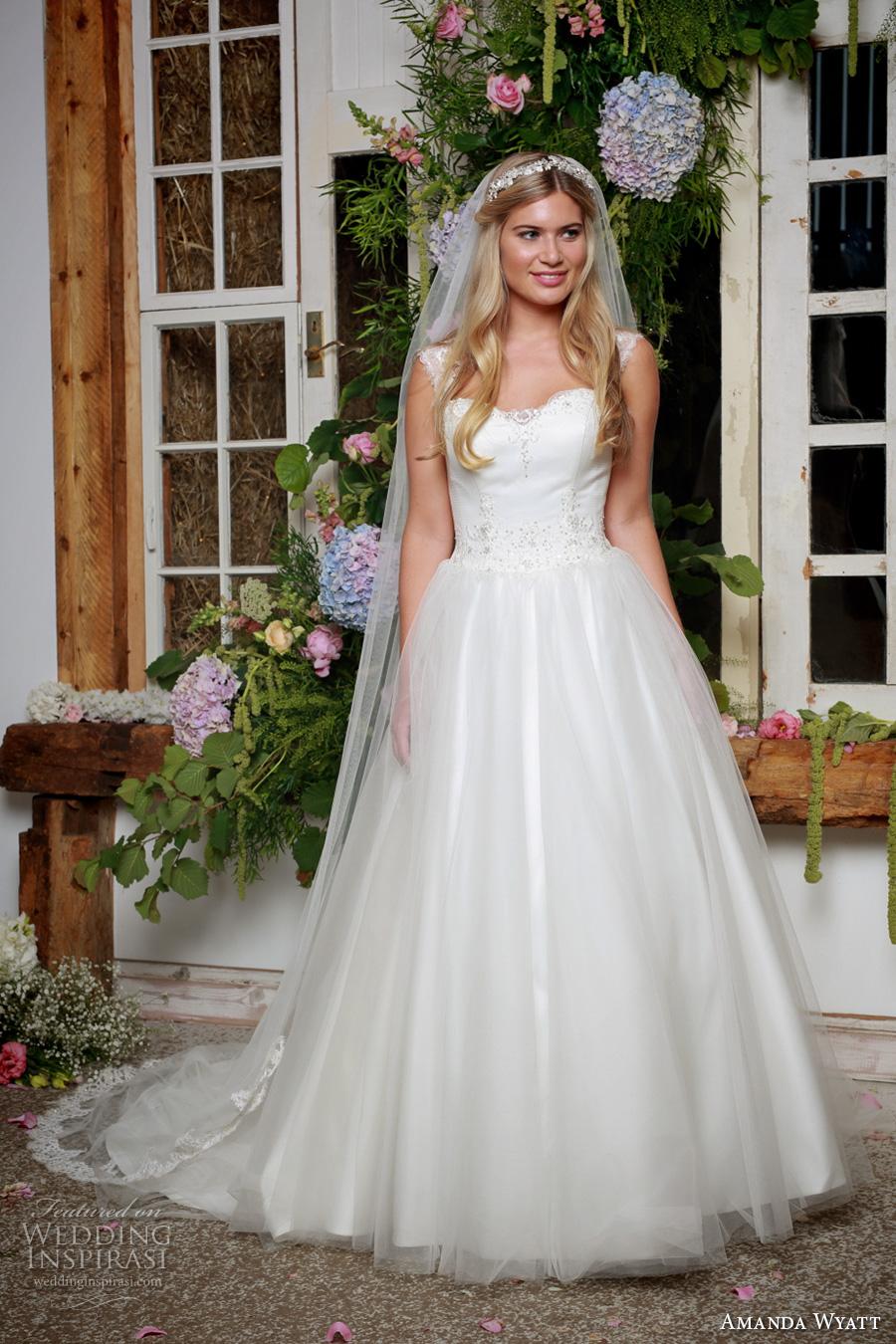amanda wyatt 2017 bridal thick strap semi sweetheart neckline lightly embellished bodice tulle skirt ivory color romantic a  line wedding dress sweep train (mistie ivory) mv