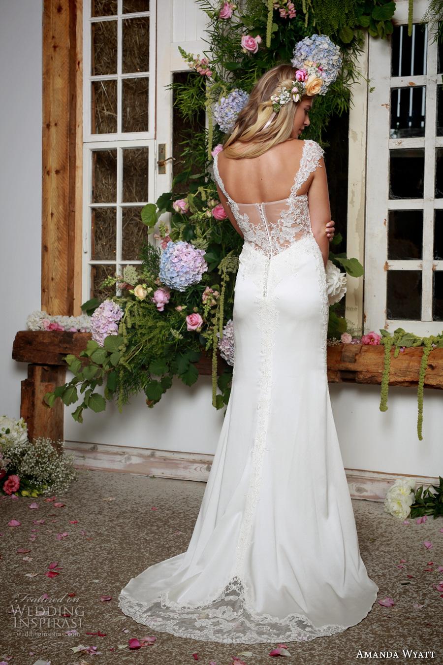 amanda wyatt 2017 bridal thick strap sweetheart neckline heavily embellished bodice elegant sheath wedding dress lace back sweep train (kathy) bv