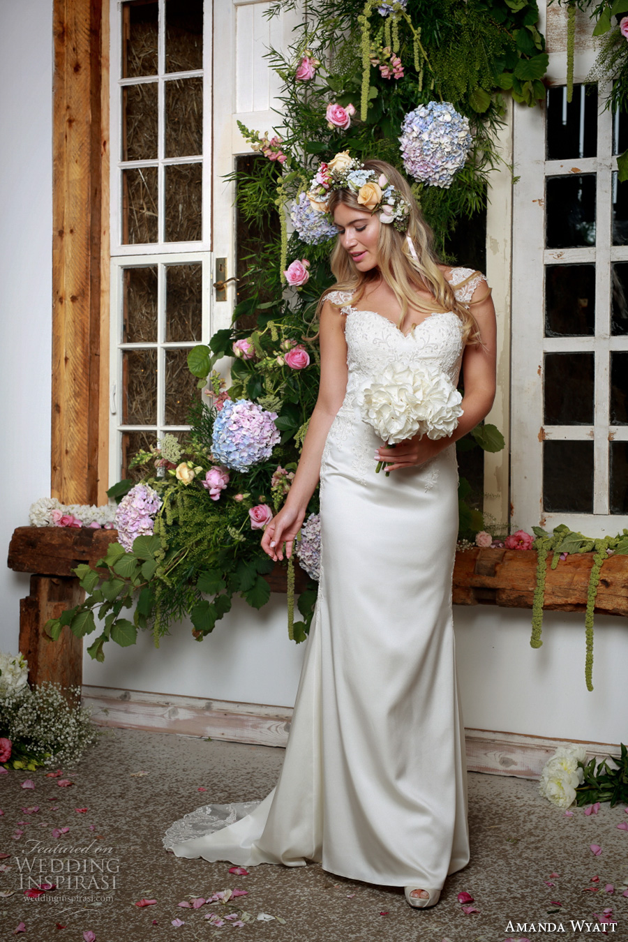 amanda wyatt 2017 bridal thick strap sweetheart neckline heavily embellished bodice elegant sheath wedding dress lace back sweep train (kathy) mv