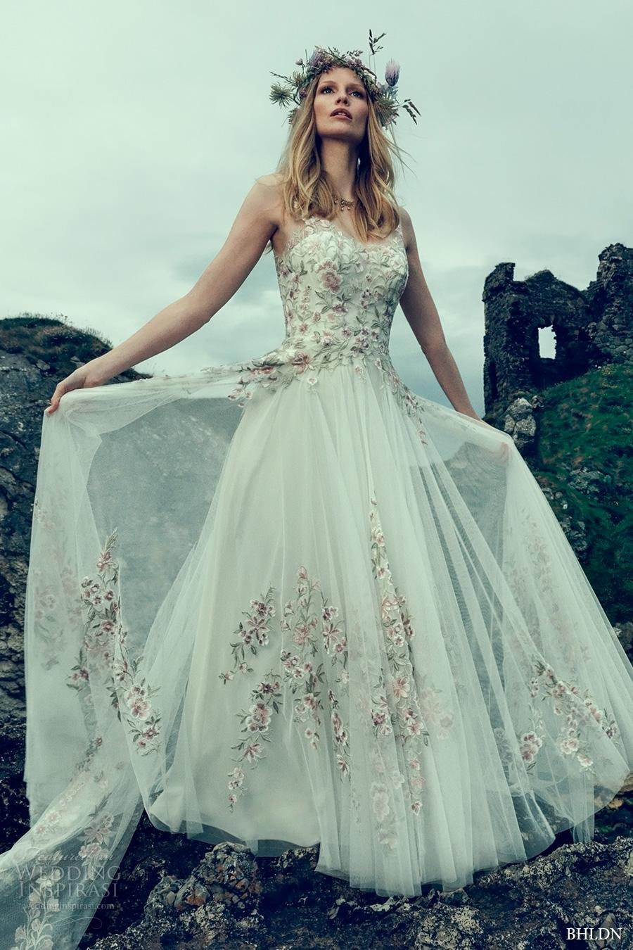 a628b774e74e bhldn fall 2016 bridal sleeveless illusion v neck sweetheart neckline  heavily embellished bodice tulle skirt romantic