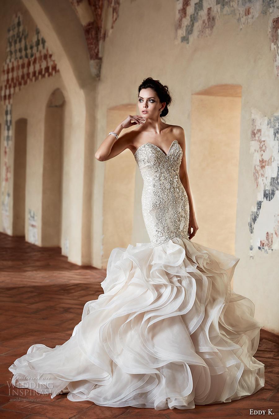 6a2b94bb8 eddy k couture 2017 bridal strapless sweetheart neckline heavily  embellished bodice layered skirt elegant sexy glamorous