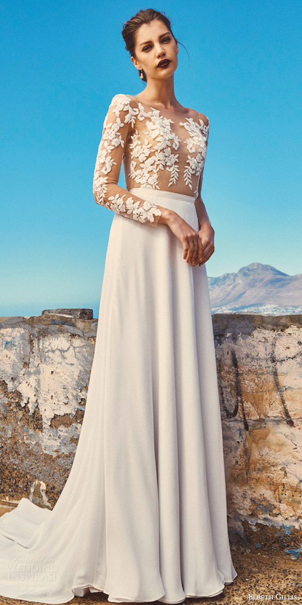 Wedding dresses from the 2017 elbeth gillis collection for Wedding dress with illusion top