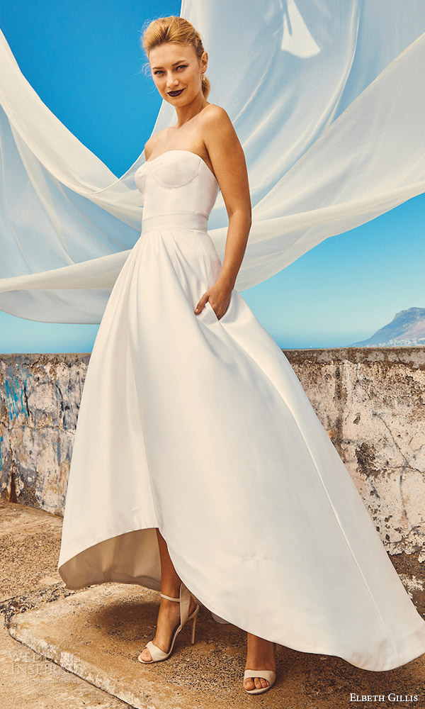 elbeth gillis milk honey 2017 bridal separates strapless sweetheart aline high low wedding dress (chloe top sk7517 skirt) mv