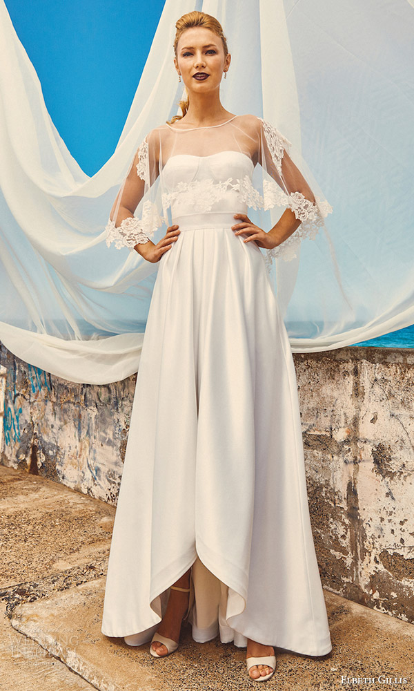 elbeth gillis milk honey 2017 bridal separates wedding dress (lily cape chloe top harper skirt) mv