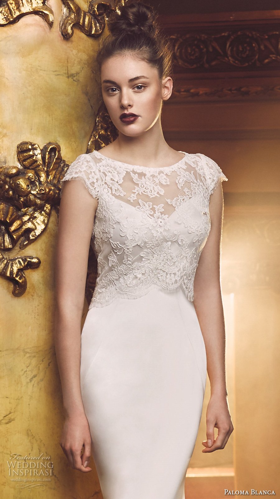 Paloma blanca fall 2016 wedding dresses wedding inspirasi for Lace shrugs for wedding dresses