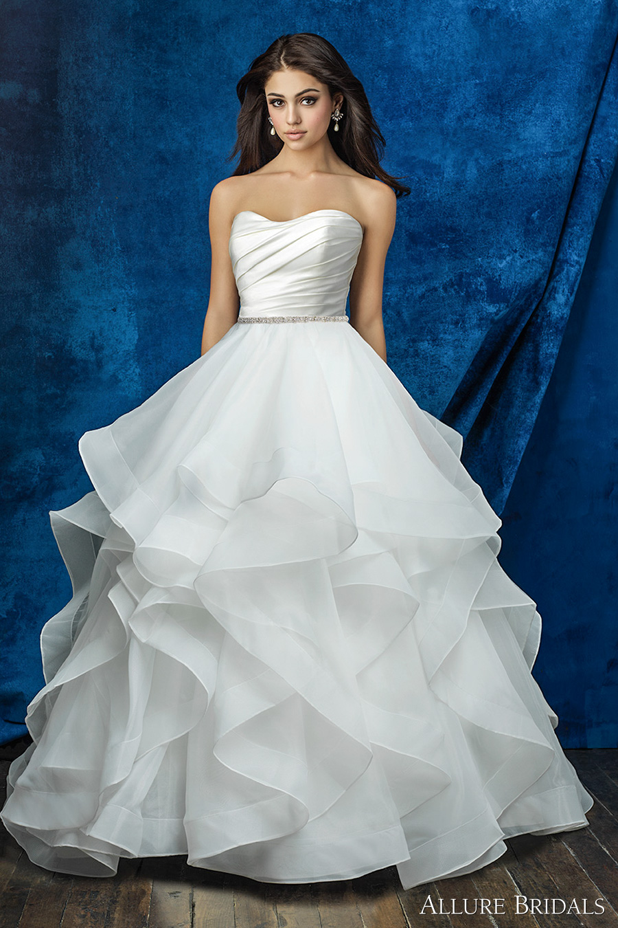 strapless sweetheart neckline satin pleated bodice simple clean princess romantic horsehair hem tiered ball gown a  line wedding dress chapel train (a2000 top and a2013 skirt) mv