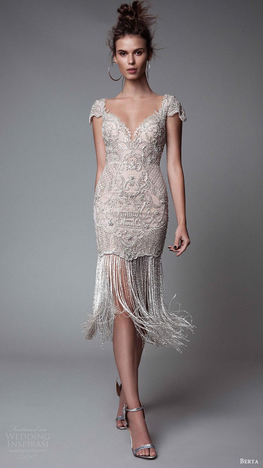 berta rtw fall 2017 (17 14) cap sleeves  off white mini dress fringe skirt mv