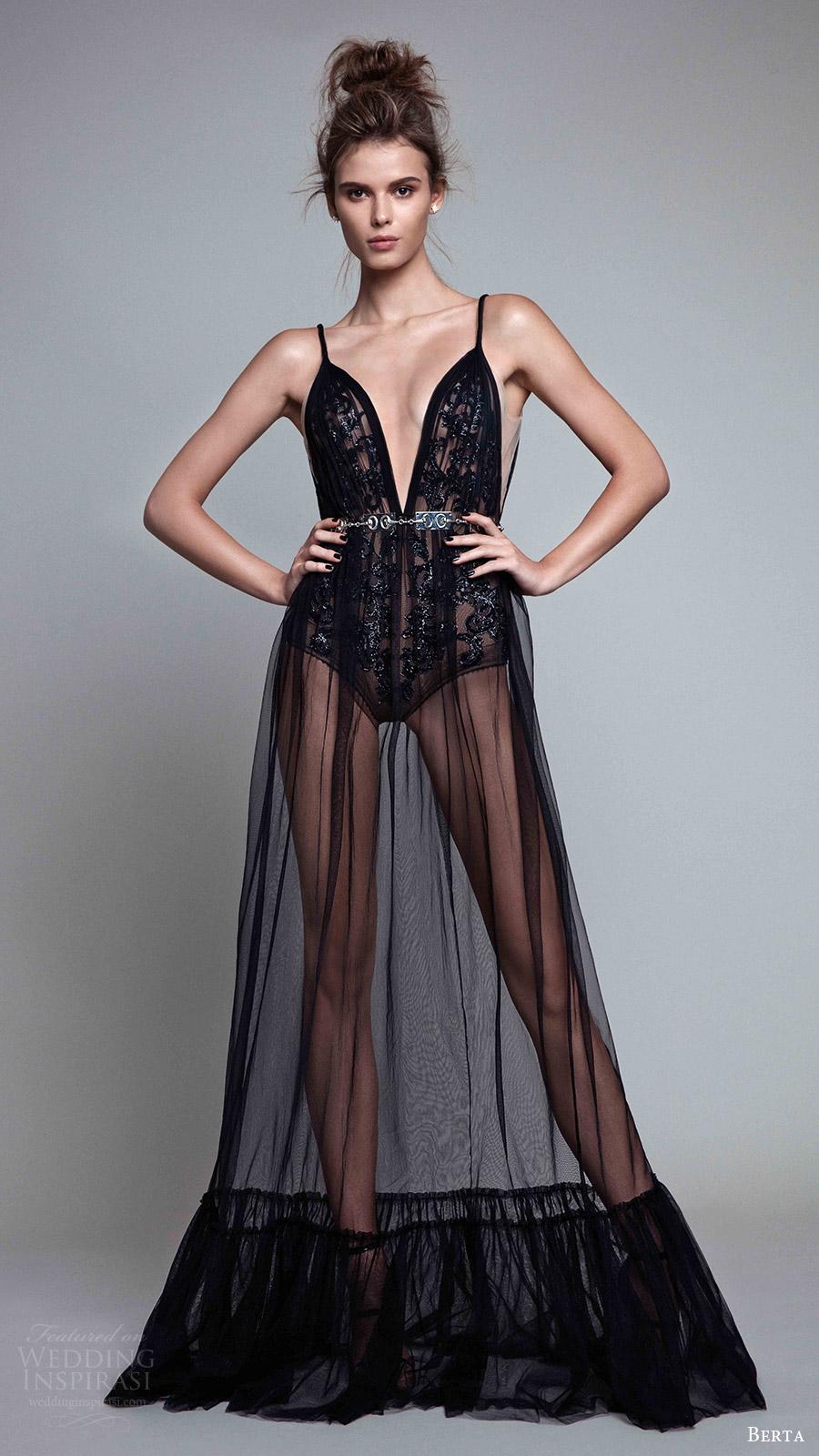 berta rtw fall 2017 (17 18) sleeveless deep v neck evening dress sheer skirt mv