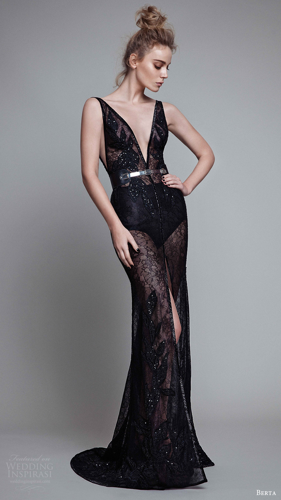 berta rtw fall 2017 (17 21) sleeveless deep v neck sheath embellished black evening dress slit skirt mv