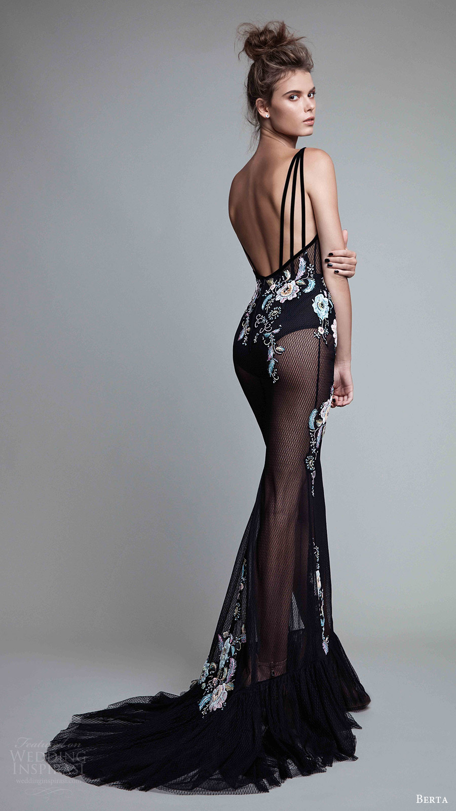berta rtw fall 2017 (17 22) sleeveless deep v neck embroidered black trumpet evening dress bv sheer skirt train