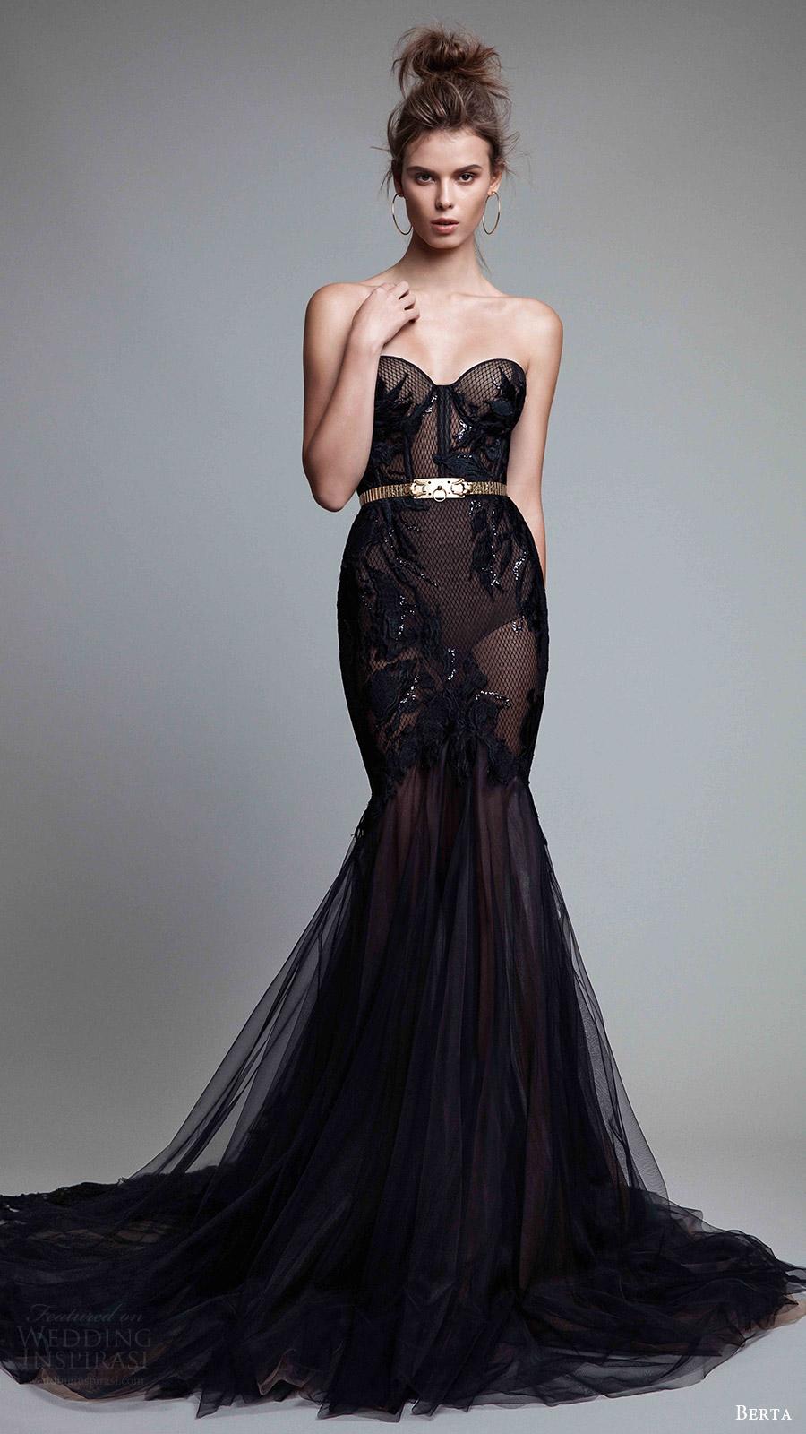 berta rtw fall 2017 (17 23) strapless sweetheart mermaid embellished black evening dress mv