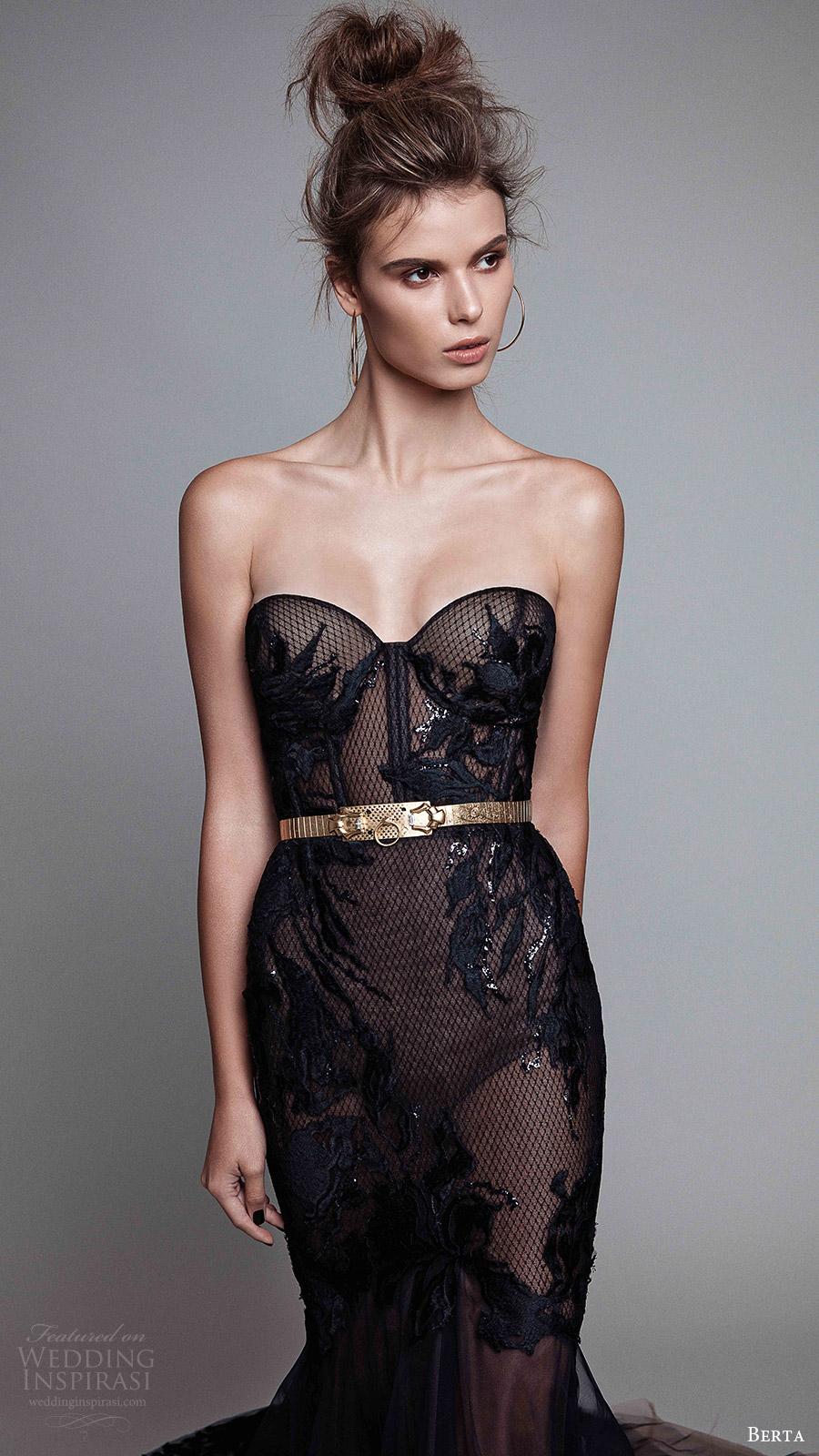 berta rtw fall 2017 (17 23) strapless sweetheart mermaid embellished black evening dress zfv
